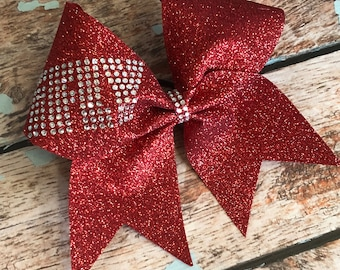 Large Rhinestone ifly Glitter Cheer Bow You Pick Your Color