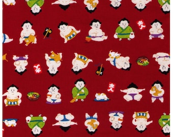 HALF YARD Cosmo Textile - A Sumo and his Kitty on RED - AP76411 5D - Japanese Import