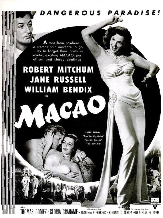 1952 jane russell macao old hollywood black white film noir