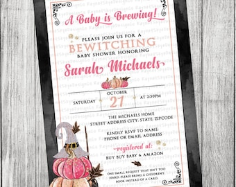 Witch, Halloween, Pumpkin Baby Shower Invitation