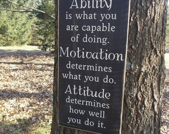 Ability Motivation Attitude Inspirational Distressed Wood Sign