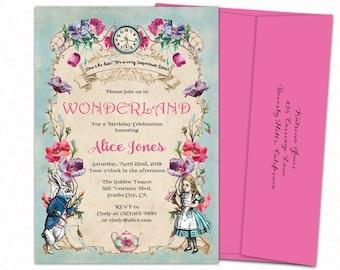Wonderland party invitation, Alice in wonderland invites, Alice through the looking glass, Wonderland birthday invites, Printed birthday.