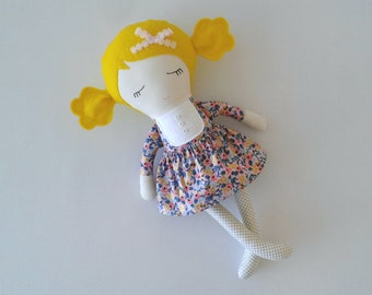 Fabric Doll with Blond Hair