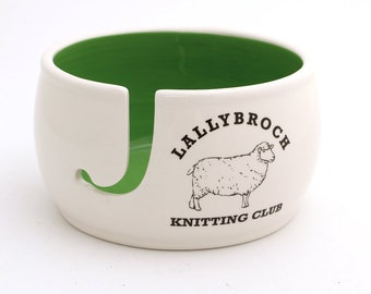 Outlander - Lallybroch yarn bowl - knit bowl - ceramic yarn bowl - Claire Fraser scarf - craft supplies and tools - wool sheep