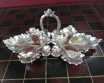 """10 1/2"""" Sterling Silver Large Double Ivy Leaf Candy or Nut Dish, Peru 925"""
