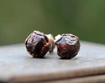 Garnet Earrings - Raw Stone Posts - Sterling Silver Stud Earrings - January Birthstone - Electroformed Garnet Earrings