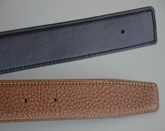 Handmade Custom 32mm Reversible Leather Belt to fit 32mm H Hermes buckles SIZE 90