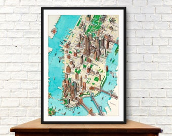 new york map manhattan map vintage map city of new york travel