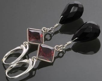 CLEARANCE. Black Onyx Earrings.  Red Cubic Zirconia. Sterling Silver. Lever Back Ear Wires. Long Earrings. Evening Wear. f12e039