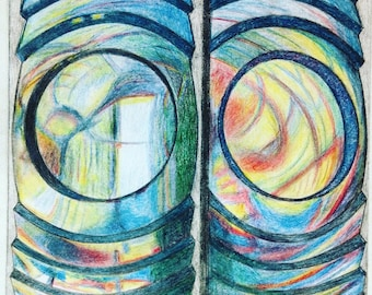 Lighthouse Lens, Unframed , Colored Pencil Drawing, A3 size
