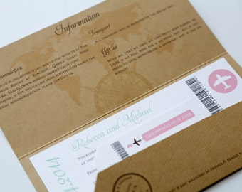 70 x Kraft Airmail Travel Wedding Invitation