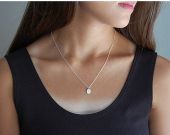 Silver Nugget Necklace Rustic Necklace Silver Minimalist Necklace Dainty Necklace Silver Nugget Jewelry