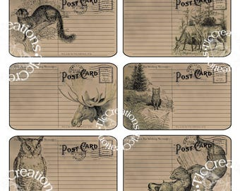 Woodland Animals Vintage Junk Journal Postcard Printables