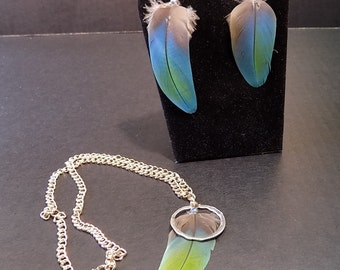 Natural Feather Earring and Necklace Set-Simplicity