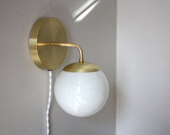 Plug In Wall Sconce • Leo • Clean modern brass and opal glass wall lamp • Modern sconce • Plug in wall sconce • Soft wired light