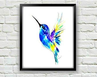 Hummingbird Print, Bird Print, Hummingbird Decor, Hummingbird Art, Abstract Bird Art, Watercolor Bird Print, Watercolor Art, Colorful Print