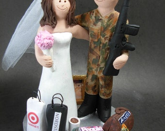 Soldier in Camouflage Wedding Cake Topper, M16  Marine Wedding Cake Topper, Shopping Bride Wedding Cake Topper, Shopaholic Bride Cake Topper