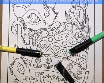 Chibi Doodle Kitty Easter Egg  Coloring Page for Adult Coloring PDF download by JennyLuanArt
