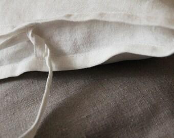 Linen Sham - White Pure Linen Pillowcase - Linen Euro Shams - by LINENSPACE   0006