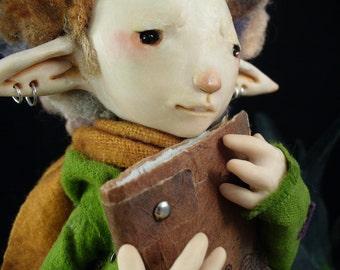 Luke - Scribe - lover of books - words - verse - OOAK artist doll