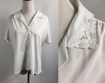 Lace Collar Vintage Buttondown White Blouse