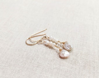 Keshi Pearl Elegant Gold Drops - 14k Yellow Gold Fill Wire Wrapped Cultivated Freshwater Keshi Pearls with Pearl Trios June Birthstone
