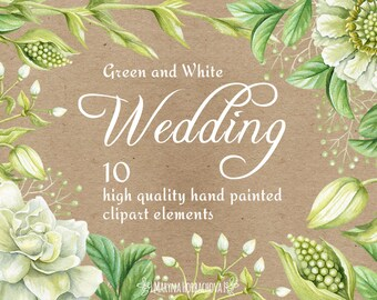 Watercolor hand painted clipart. Clipart for wedding invitations. White and green flowers.