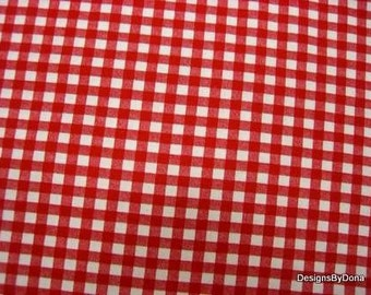 One Fat Quarter Cut of Quilt Fabric, Red and White Gingham Print, 1/4 Inch Calico Print, Sewing-Quilting-Craft Supplies