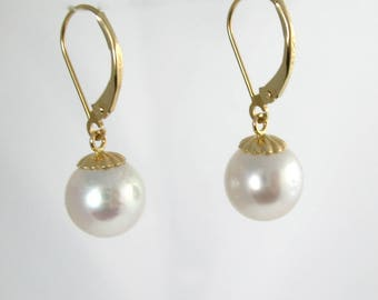 14KT Dangle 10mm South Sea Pearl Earrings