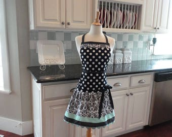 Seaside Damask  - Mother's Day Gift ~ READY TO SHIP - Ellie Style Women's Apron ~ 4RetroSisters