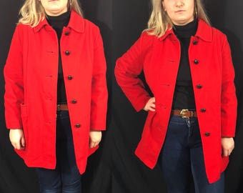 Vintage PLUS SIZE 1960s Red Wool Coat (Size 16/18)