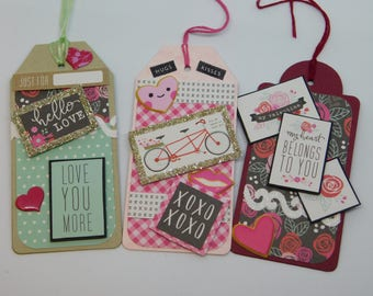 Valentine's Day Tag Set.  Set of 5 Large Valentine's Day Tags.  5 Tag Assortment