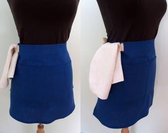 Royal Blue Linen Bistro Apron, Half Apron with Pocket and Towel Loop, Blue Waist Apron, Blue Waitress Apron, Server Apron, Restaurant Apron