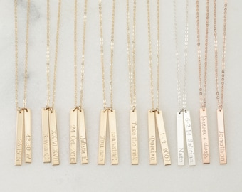 LOLA Tag Necklace • 25x3mm Vertical Bar Necklace • Personalized Vertical Bar Necklace, Custom Name Necklace, Dainty Necklace, Wedding Gifts