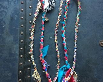 Miami Vice - OOAK Handmade Braided Fabric Necklace