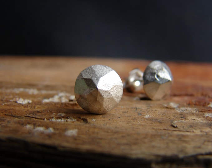 Pyramid Faceted Silver Studs Earrings Geometric Sterling Silver Post Earrings Gift for Her Under 50
