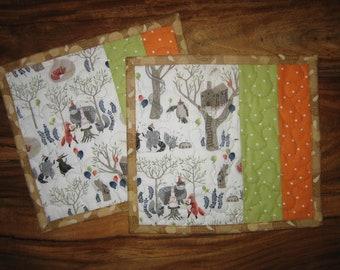 "Woodland Animals Birthday Party Table Mats, Mug Rugs, Snack Mats, 9x9.5"", Green Orange, Bear Raccoon Fox Owl Treehouse Handmade"