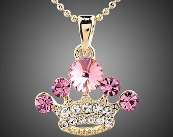 Crystal Pink Crown Necklace