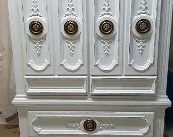 Distressed armoire white shabby chic dresser