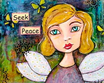"Angel Art on 8 x 8 Wood Panel ""Seek Peace"" Original Mixed Media Art By Charlotte Littlejohn"