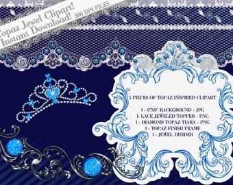 Tiara Clipart, Topaz Jewel Clipart, Digital Clipart, Clipart Frame, Jewel Clipart