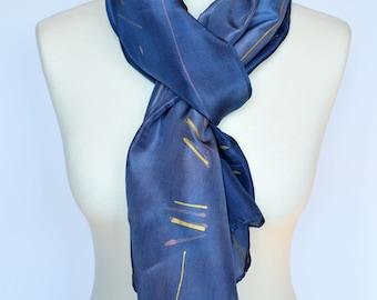 Purple silk scarf,Long purple silk scarf,Handmade silk scarf,Unique silk scarf,Handpained silk scarf,AnaSilkDesign,One of a kind gift