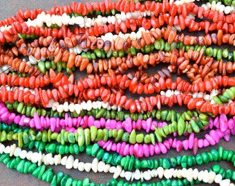 Colorful Dyed Shell CHip Bead Strand   LONG STRAND
