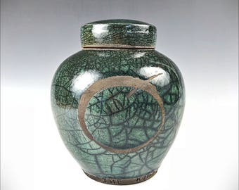 Personalized Pet Urn or Keepsake Urn with Raku Green Crackle Glaze and Continuum of Life Emblem