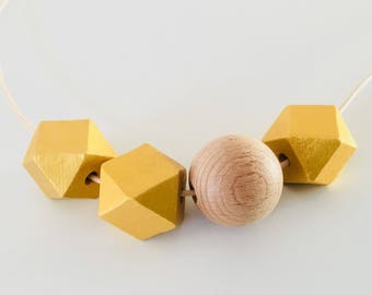 Gold Geometric Necklace - wooden beads