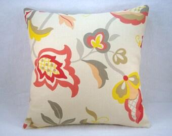 Jaclyn Smith Modern Floral Linen Pillow Linen and Floral  Pillow Linen Pillow Decorative Pillow 18x18 Pillow Cover