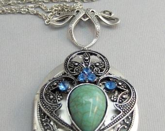Gypsy Wind,Locket,Silver,Turquoise Necklace,Gemstone,Necklace,Antique Locket,Blue Stone,Sapphire,Sapphire Birthstone,Aqua,Teal,Blue