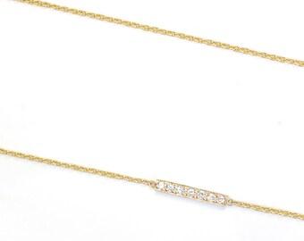 Diamond Bar Necklace, Diamond Necklace, Gold Diamond Necklace, Pave Bar Necklace, Layering Necklace, Asymmetrical Diamond Necklace, Nixin