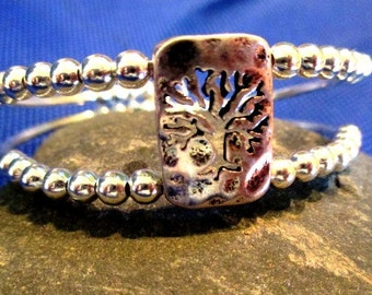 Silver Tree of Life Beaded Bracelet