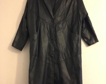 Wilsons Black Genuine Leather Thinsulate Dress Coat Small